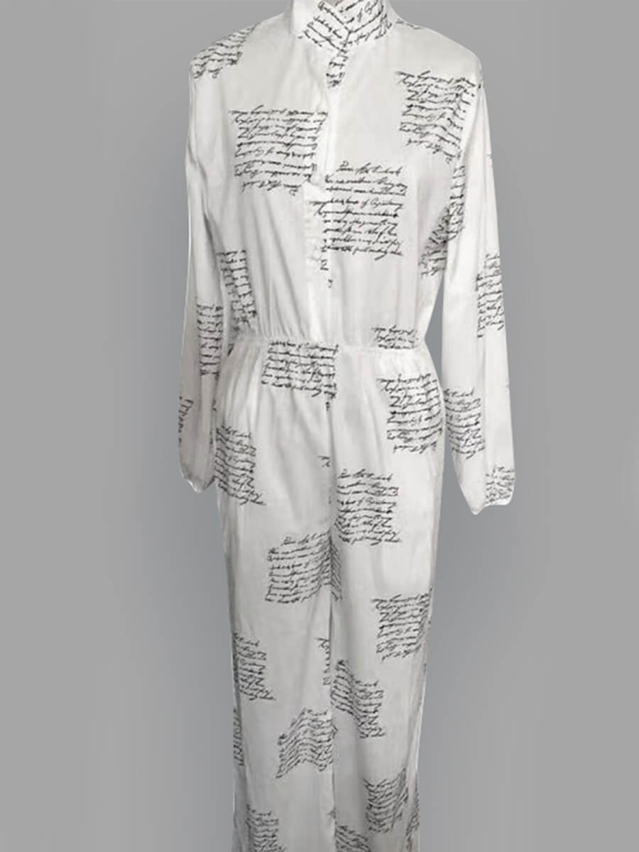 Lovely Casual Letter Print White Plus Size One-pie