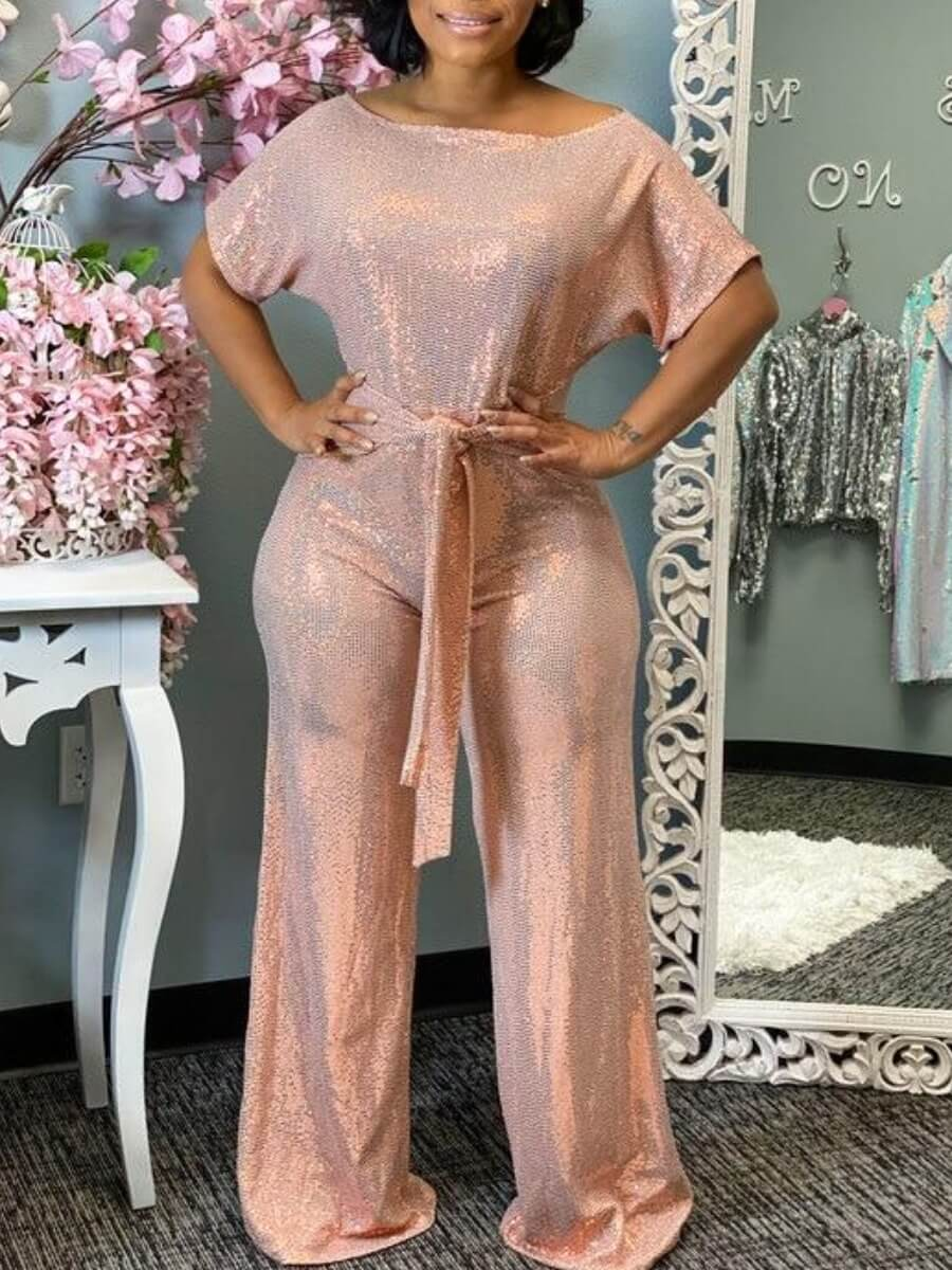 Lovely Stylish Lace-up Pink One-piece Jumpsuit