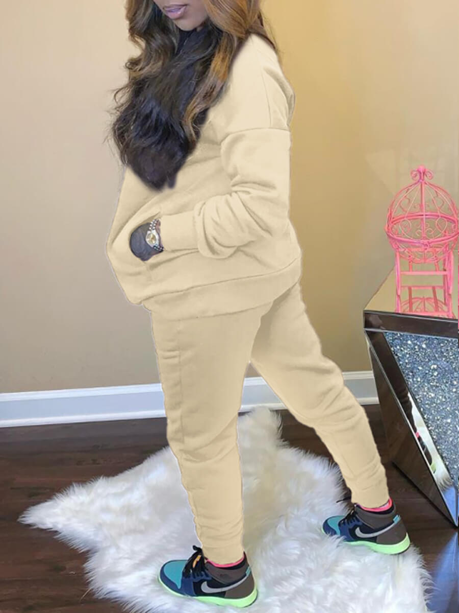 Lovely Casual O Neck Basic Beige Two Piece Pants S