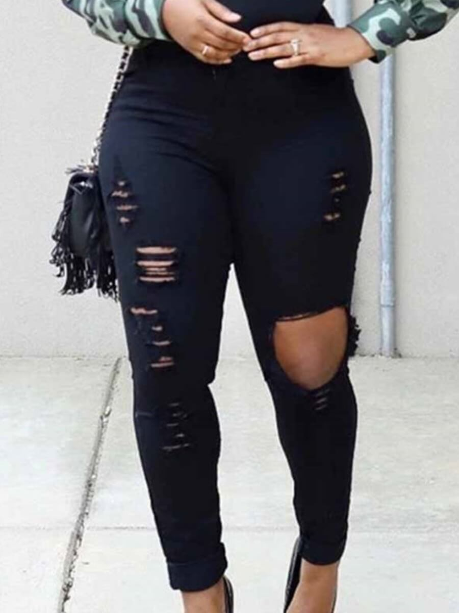 Lovely Trendy High-waisted Hollow-out Black Jeans