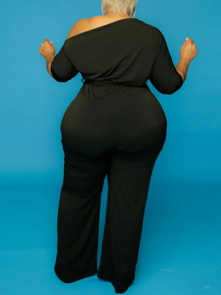 Lovely Casual Drawstring Black Plus Size One-piece
