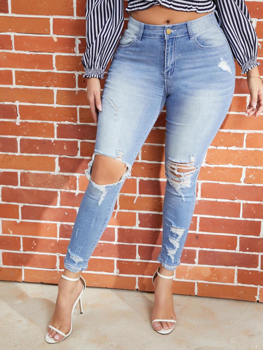 Lovely Broken Holes Blue Jeans