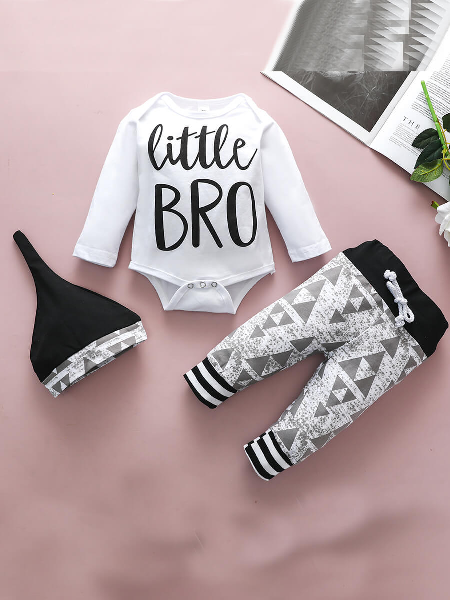 Lovely Street Letter Print Patchwork White Boy Two