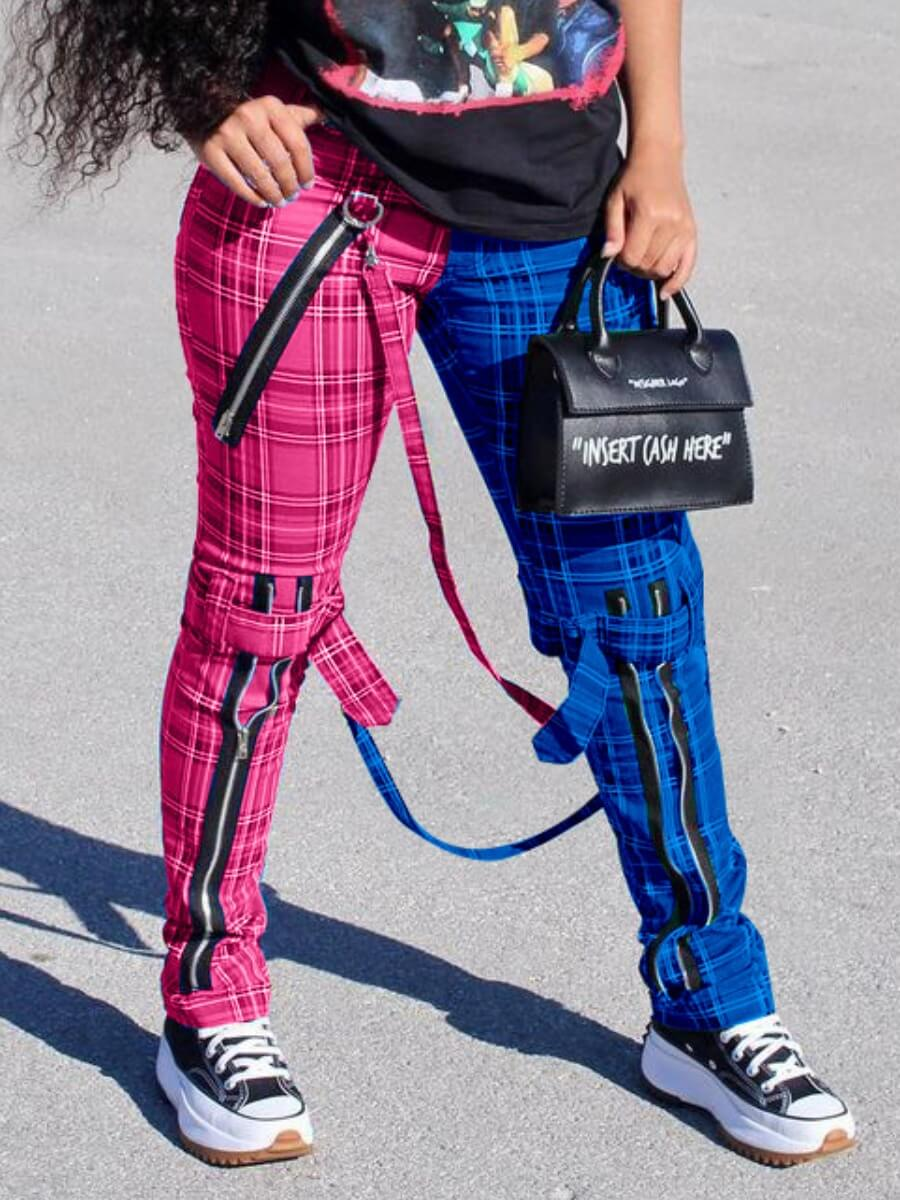 Lovely Casual Plaid Print Patchwork Rose Red Pants