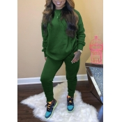 Lovely Casual O Neck Basic Green Two Piece Pants S