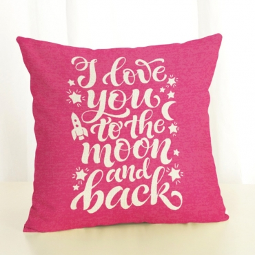 Lovely Letter Print Rose Red Decorative Pillow Cas