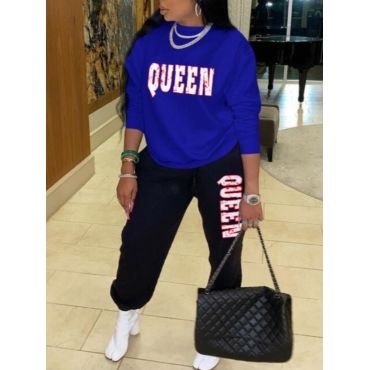 Lovely Casual O Neck Letter Print Blue Two Piece P