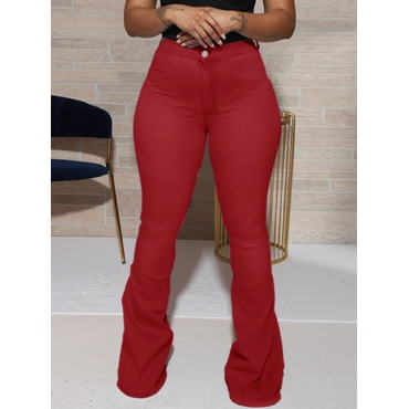 Lovely Casual Basic Wine Red Jeans