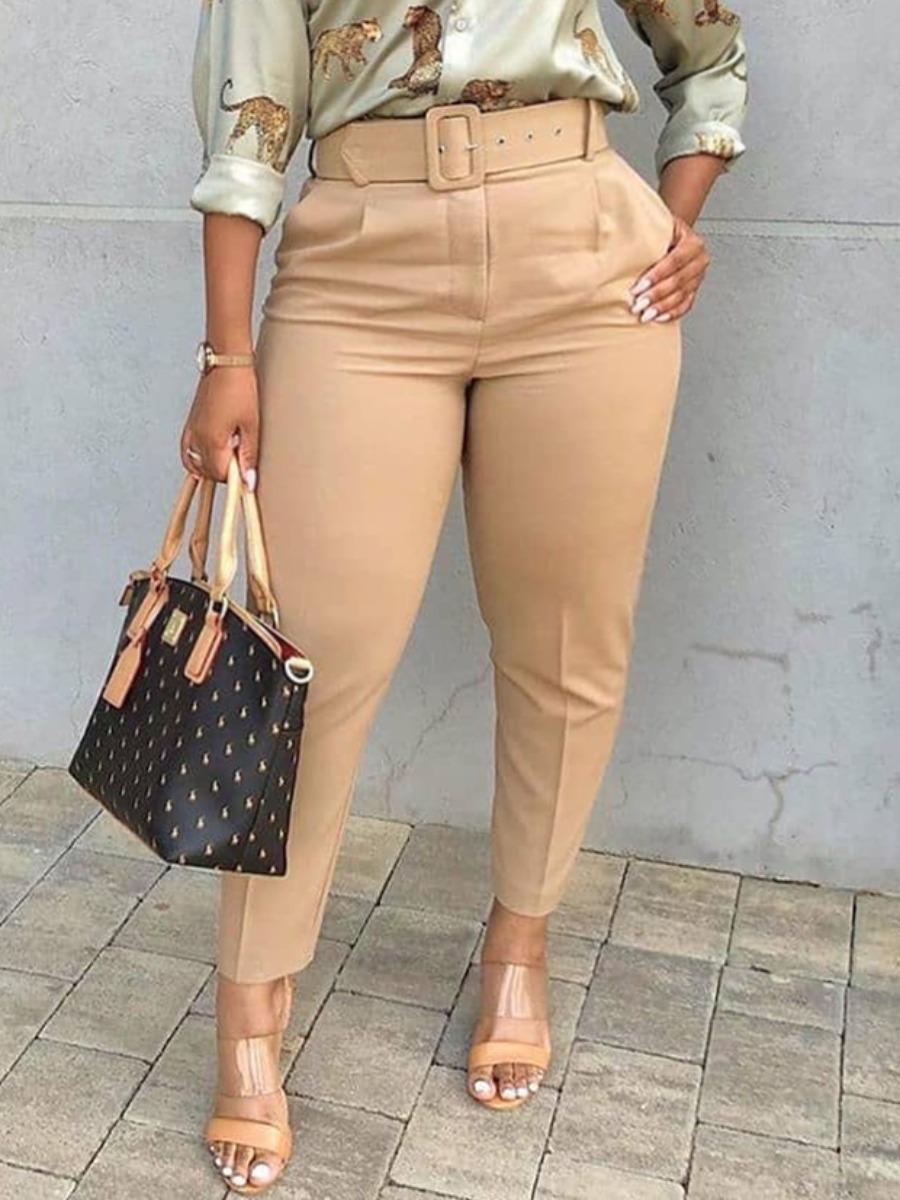 Lovely Business High-waisted Elastic Khaki Plus Si