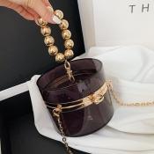 Lovely Stylish See-through Ball-shaped Decoration Black Crossbody Bag