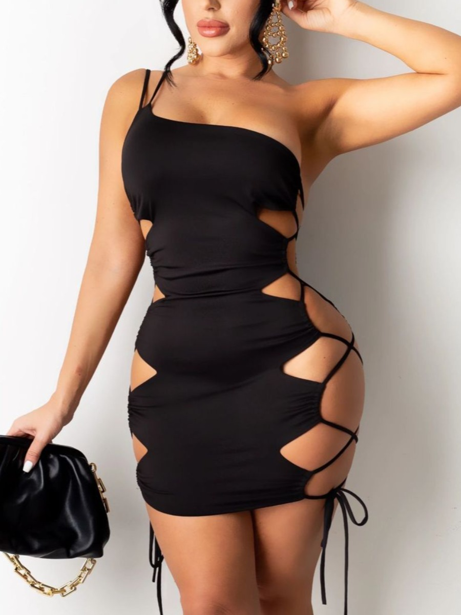Lovely Sexy Bandage Hollow-out Design Black Mini D