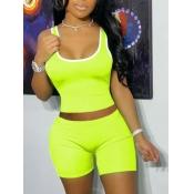 Lovely Sporty U Neck Basic Skinny Lemon Yellow Two Piece Shorts Set