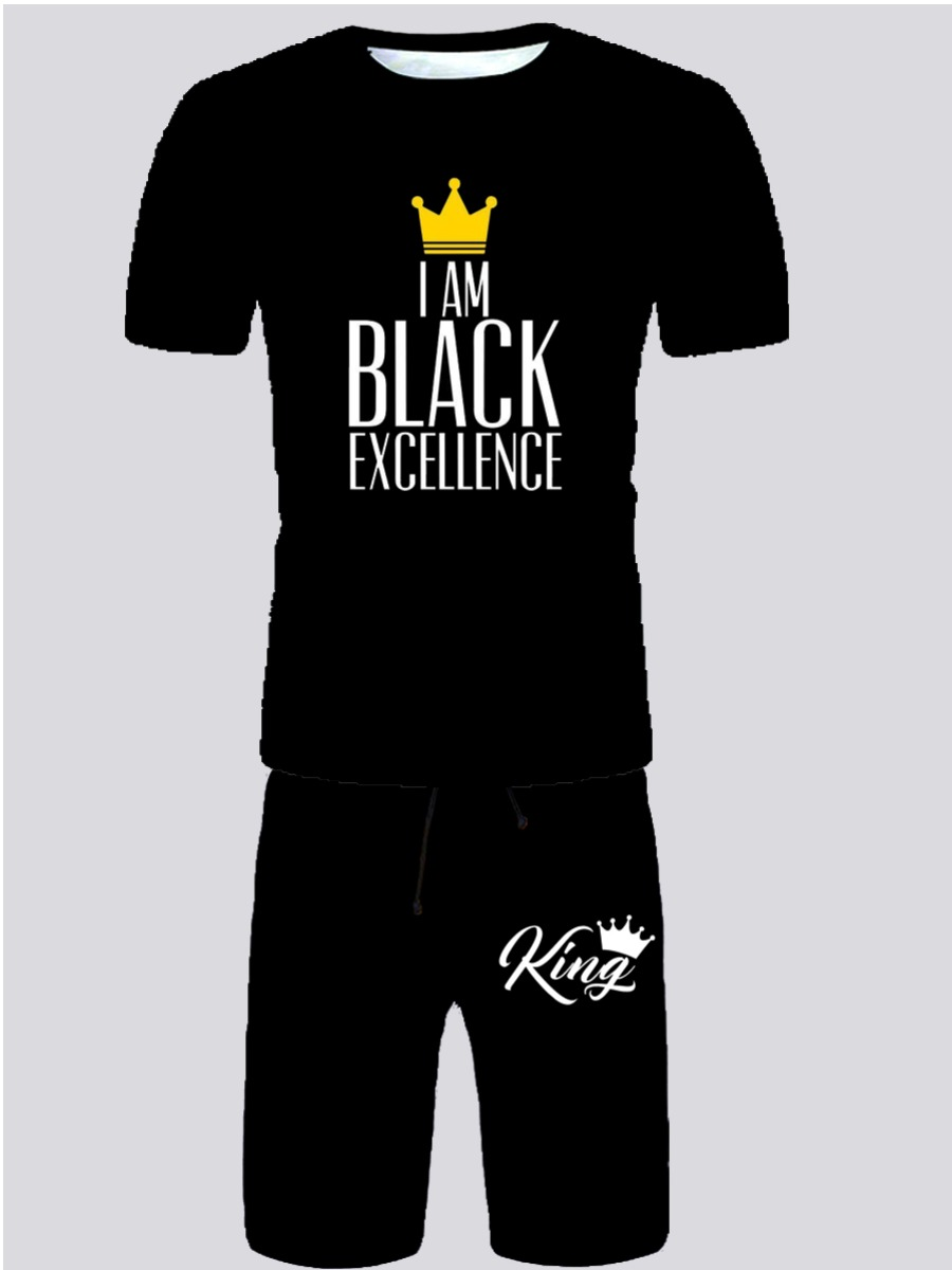 Lovely Men Casual Crown Letter Print Black Two Pie