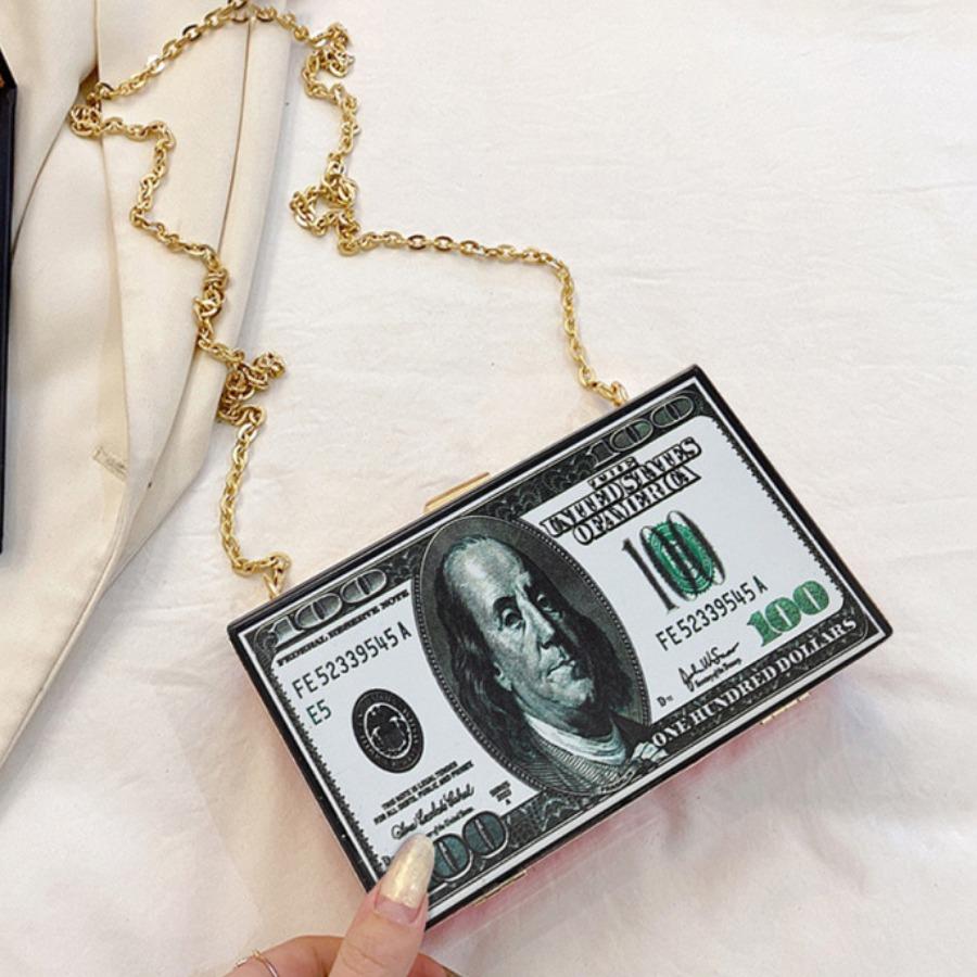 Lovely Street Money Print Chain Strap Black Crossb