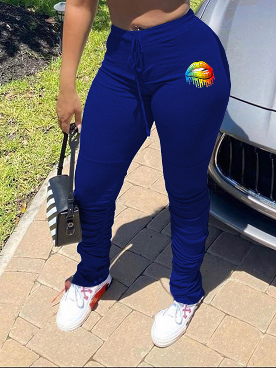 LW Sportswear Lip Print Blue Pants