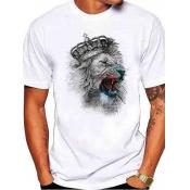 Men Lovely Casual Print White T-shirt